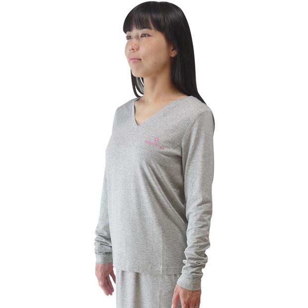 放射電磁波シールドVネックTシャツセットアップ(銀繊維ファブリック)