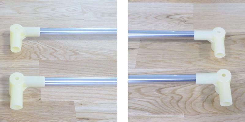 角用の継ぎ手に連結した長さ用パイプ2本を差し込みます