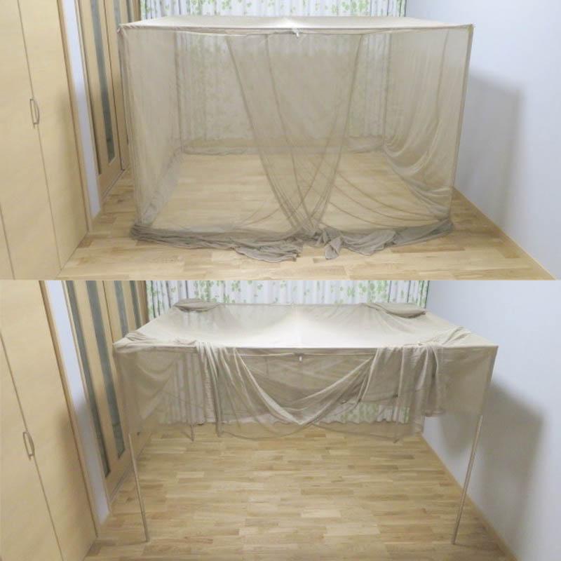 シールド蚊帳を被せ、裾を天井部に持ち上げます