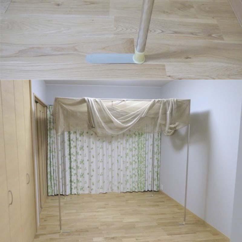 継ぎ手ステーに3段目の支柱パイプを差し込み、3段目の支柱パイプを支柱に差し込んで連結します